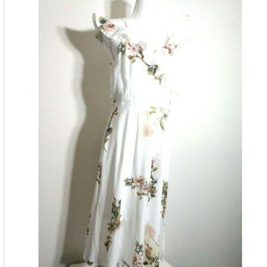 NEW White Floral Dress Straps Cold Shoulder Ruffle